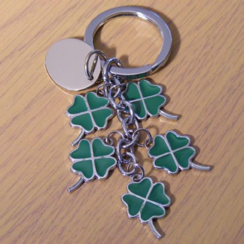 Engraved Lucky Four Leaf Clover Charm Keyring Personalised Gift